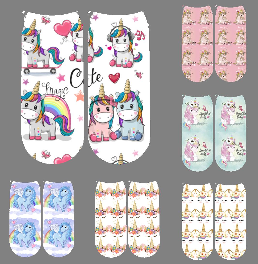 2020 модные носки с 3D принтом, женские носки до щиколотки, носки с мультяшным животным, единорогом и 3D принтом, носки для женщин