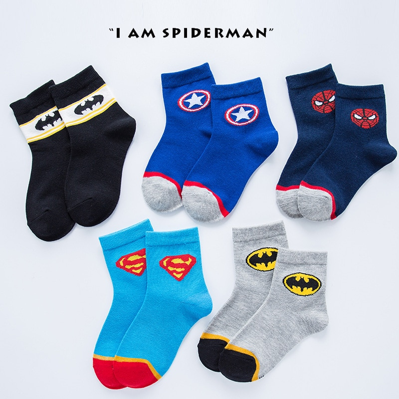 New 5Pairs/set Socks Cartoon Super Hero  Captain Cotton Kids Boys Socks Gift for 2-10Y