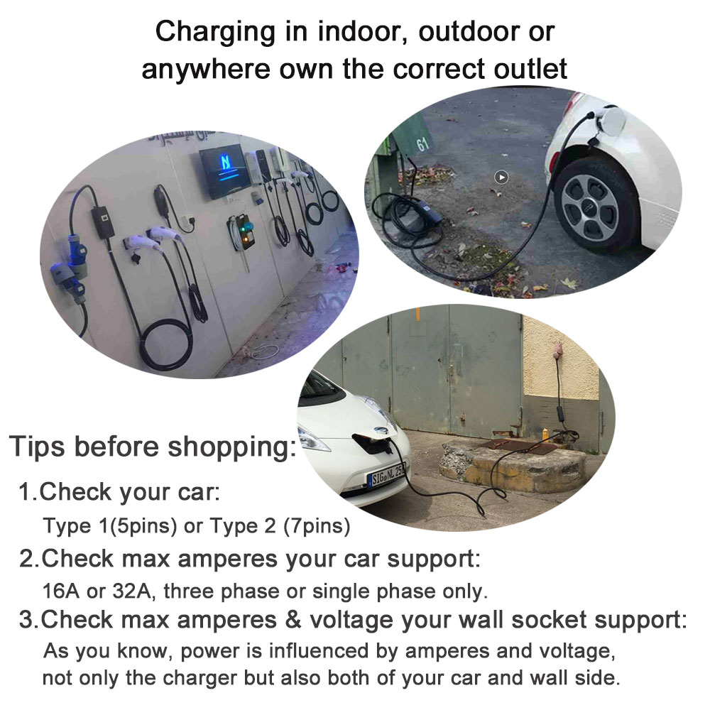 Khons EVSE Electric Vehicle EV Charger Type 2 With Schuko Plug Adapters 16A Adjustable 5M Cable Portable Charging Connector Plug enlarge
