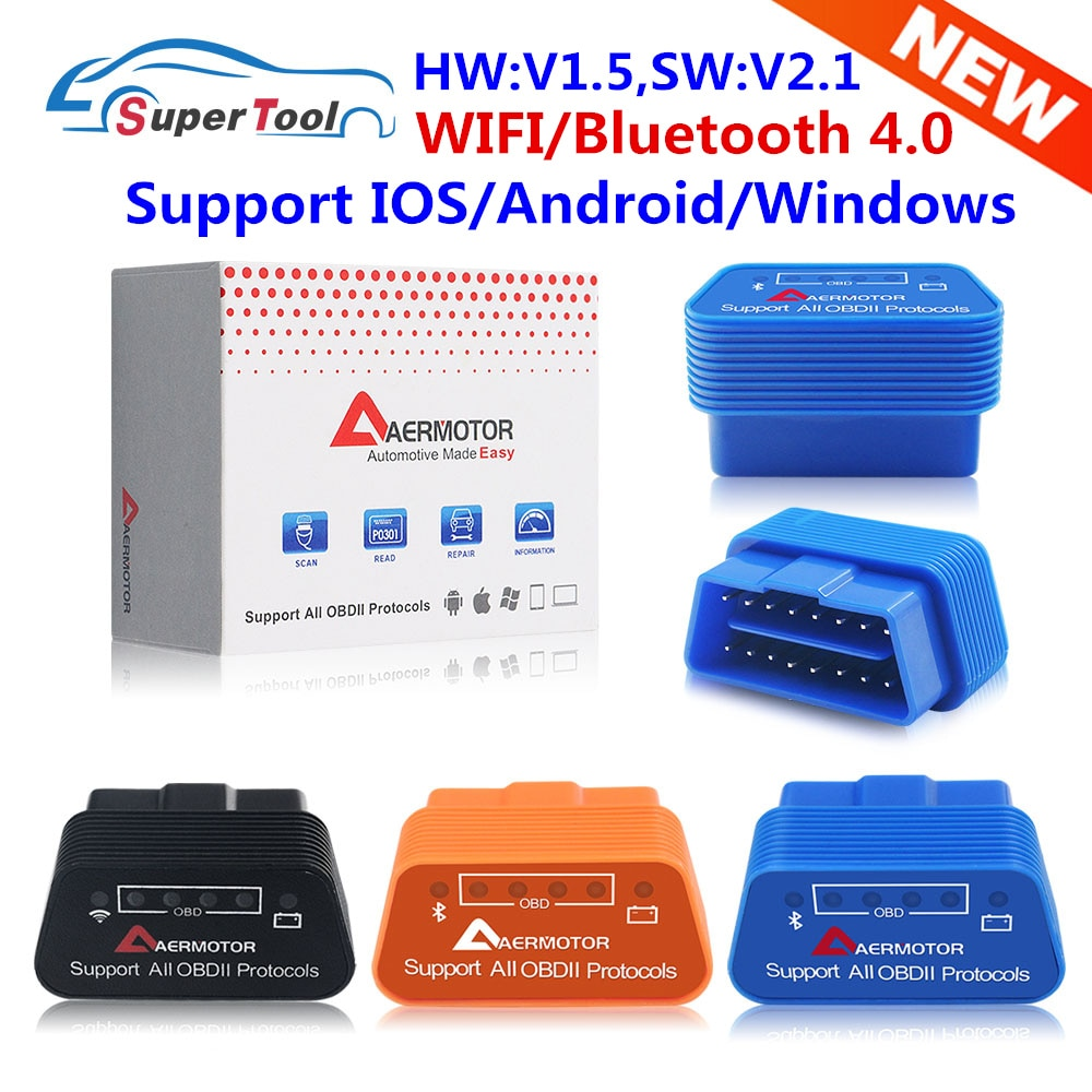 OBD2 ELM327 V1.5 WIFI ELM327 V1.5 Bluetooth 3.0/4.0 Auto Scanner ELM 327 V1.5/1.5 WI-FI/Bluetooth 4.0 Support For Android/IOS/PC