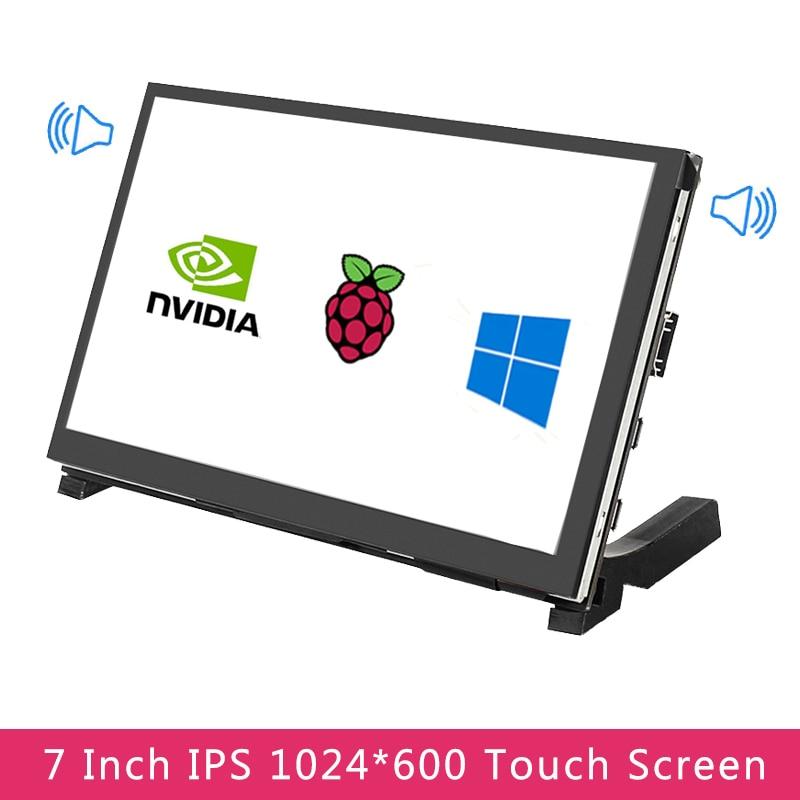 7 بوصة IPS شاشة كمبيوتر محمول ذات دقة عالية بالسعة شاشة تعمل باللمس 1024x600 عرض 2 مكبرات الصوت لتوت العليق Pi 4 نموذج B/3B +/3B جيتسون نانو الكمبيوتر