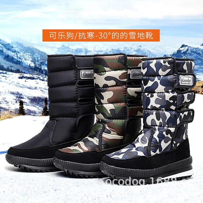 Botas masculinas para neve, botas de inverno para neve, de pelúcia, grossas, à prova d água, plus, 2019 tamanho 35 - 47