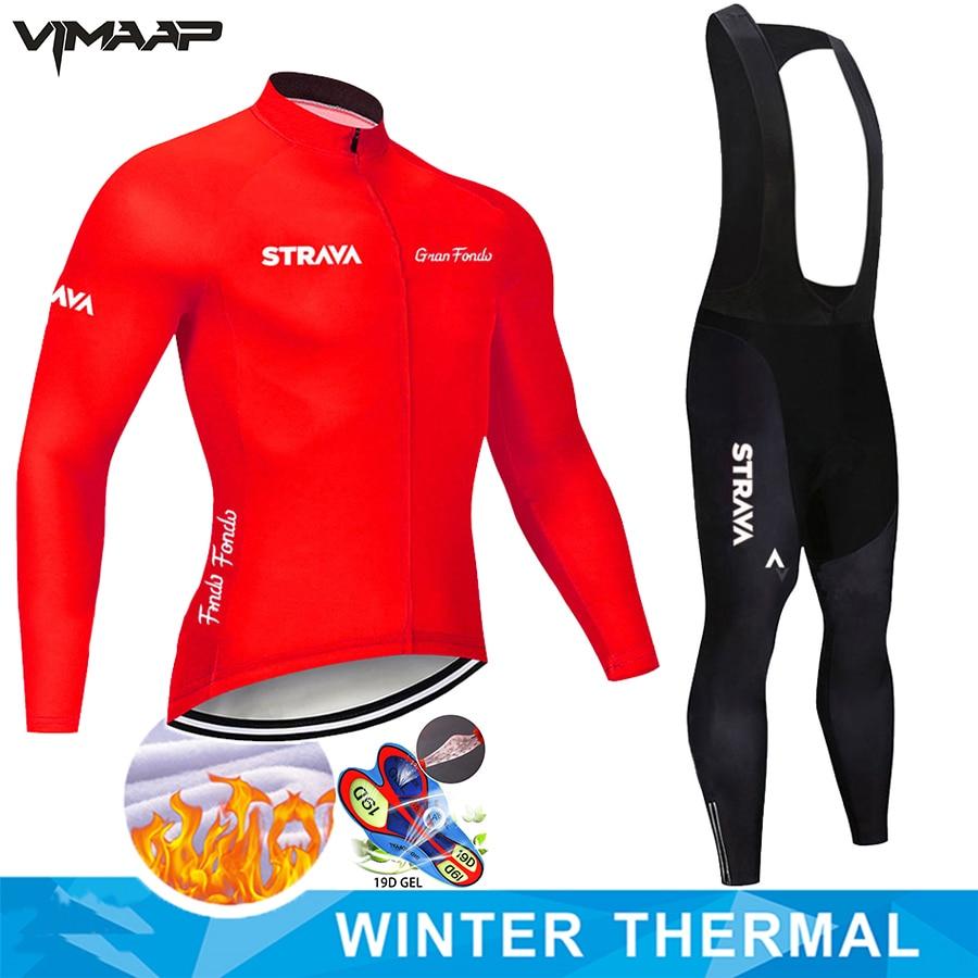 STRAVA-conjunto de Ropa térmica de Ciclismo para hombre, conjunto de pantalones y...