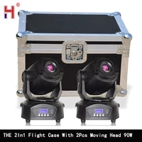 flight case 2in1 with 90w led spot moving head light fast silent 3 facet prism clear rotating gobo for stage dj disco party