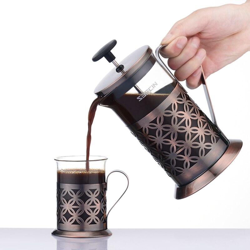 Fermentação percolador pote de café filtro acampamento espresso portátil máquina de café ferramentas cafeteira francesa vidro metal pote ea6kfh