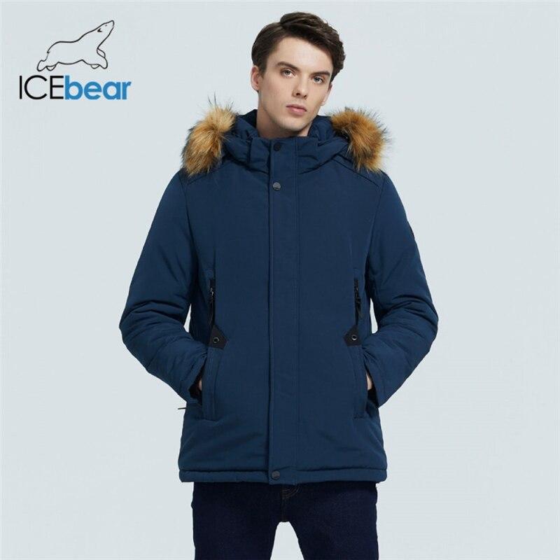 ICEbear 2021 новые зимние мужские куртки высококачественные куртки с меховым воротником модная мужская одежда брендовая одежда MWD20857D