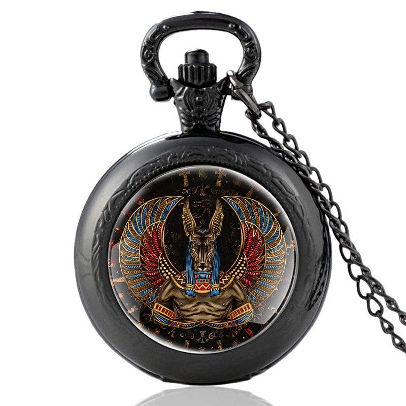 Ancienne egypte Anubis modèle Vintage Quartz montre de poche hommes femmes Unique pendentif collier heures horloge cadeaux