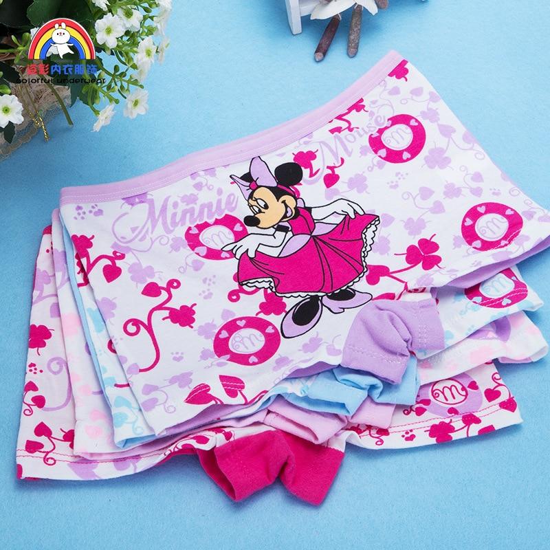 4pcs Girls Cartoon Boxes Children Cotton Underwear Minnie Mouse Printing Panties Kids Short Panties Girl Underpants Size 2T-10T