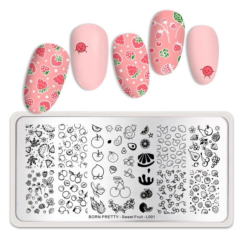 Carimbo de unhas para arte de unha, placas de aço inoxidável com estampa de imagem de unha de frutas e doces