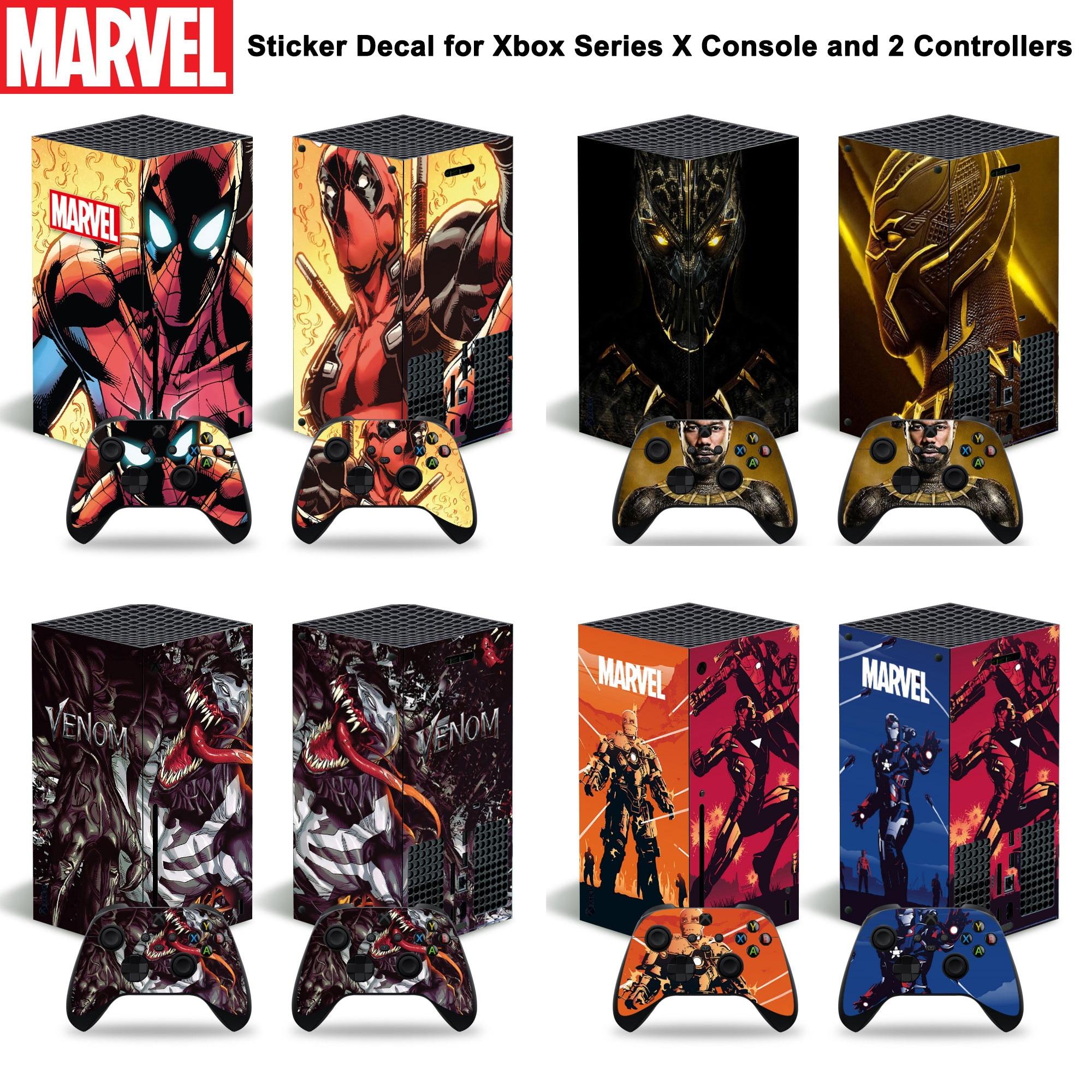 مارفل الرجل الحديدي ديدبول الجلد ملصق مائي غطاء ل Xbox سلسلة X وحدة التحكم و 2 وحدات تحكم Xbox سلسلة X الجلد ملصق الفينيل