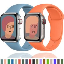 Correa de silicona para Apple Watch, 40mm, 44mm, 38mm, 42mm, 44mm, pulsera de reloj inteligente, iWatch 3 4 5 6 se 7 45mm 41mm