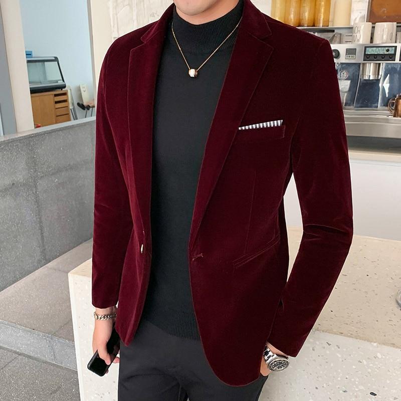 Autum Velvet Wedding Dress Coat Mens Blazer Jacket Fashion Casual Suit JacketStage DJ Men's Business