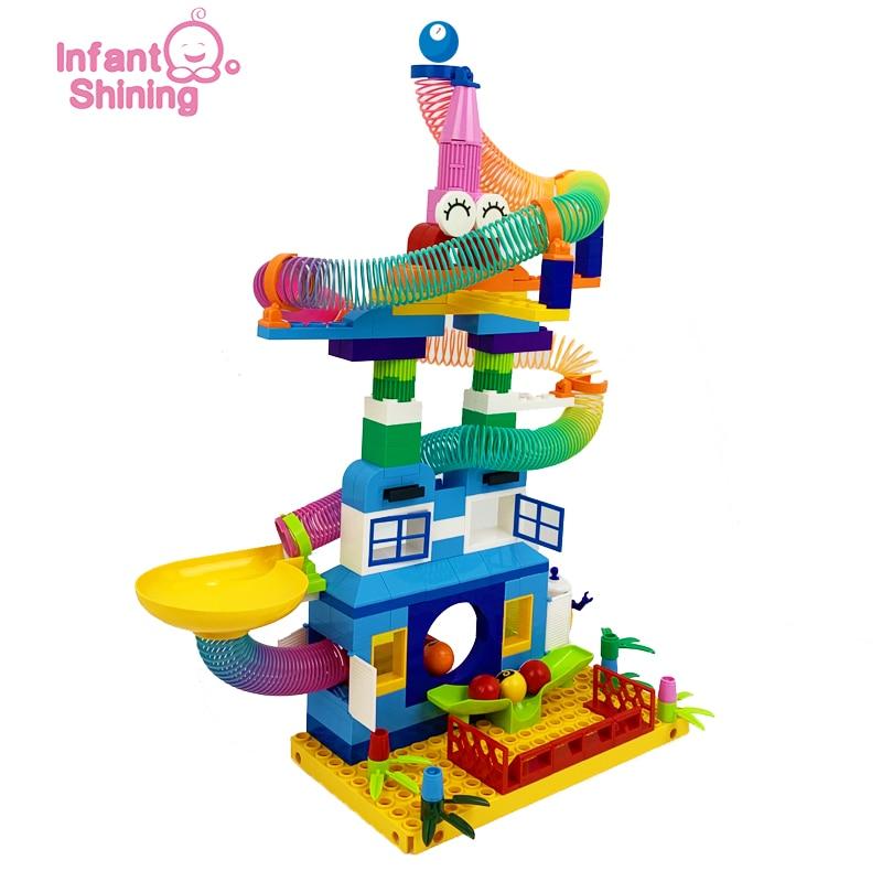 Infant Shining 65-203PCS Marble Runs Block Compatible Building Blocks Funnel Slide Blocks DIY Bricks Toy For Children Block