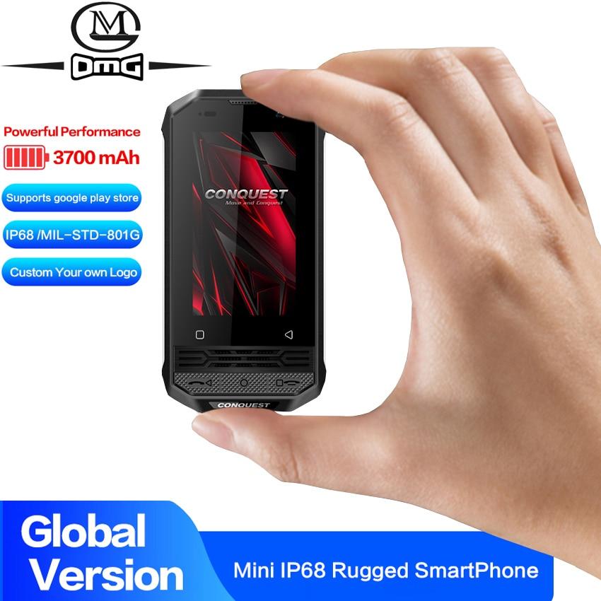 Перейти на Алиэкспресс и купить CONQUEST F2 NFC IP68 Ударопрочный мини-смартфон Android 8,1 4G сканер отпечатков пальцев прочный смартфон четырехъядерный PTT POC рация