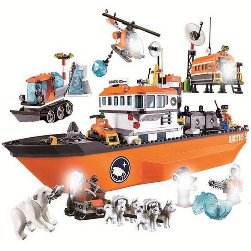 10443 760pcs City Urban Arctic Icebreaker Ship Bela 7 Figures Compatible With Lago Lepining 60062 Building Block Bricks Toy