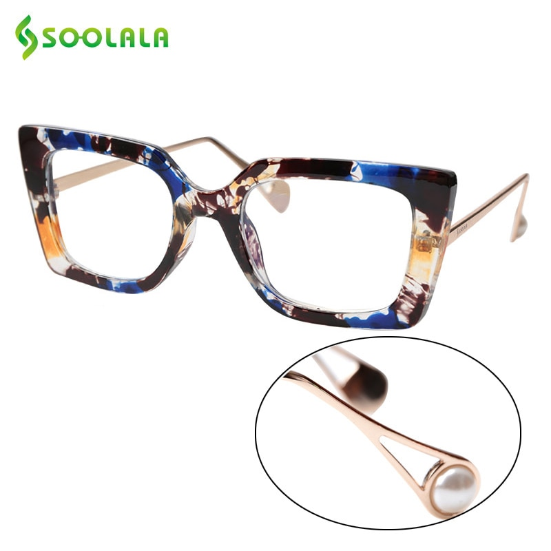 SOOLALA Anti Blue Light Reading Glasses with Pearl Arms Eyeglasses Frame +1.0 1.25 1.5 1.75 to 4.0 S
