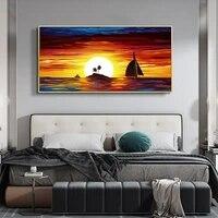 Nordique paysage peinture a lhuile beau coucher de soleil mer surface art toile peinture salon couloir bureau decoration murale