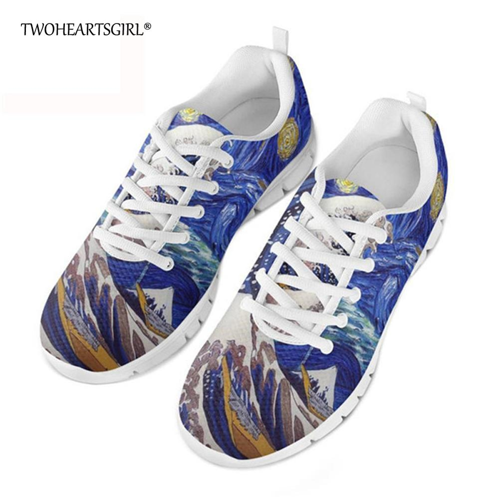 Twoheartsgirl Classic Starry Night-wave Pattern Vulcanized Shoes for Men Breathable Male Mesh...
