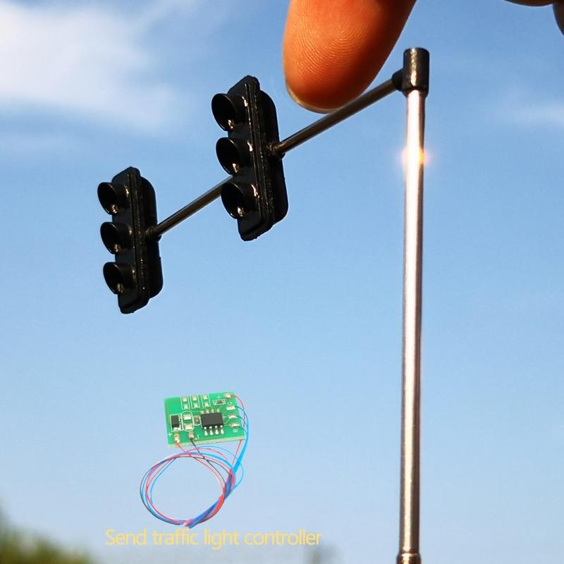 Модель светофора в масштабе Хо, 2 шт., крепление на рабочий столб, накладные светофоры с контроллером, поезд, железная дорога, макет железной ...