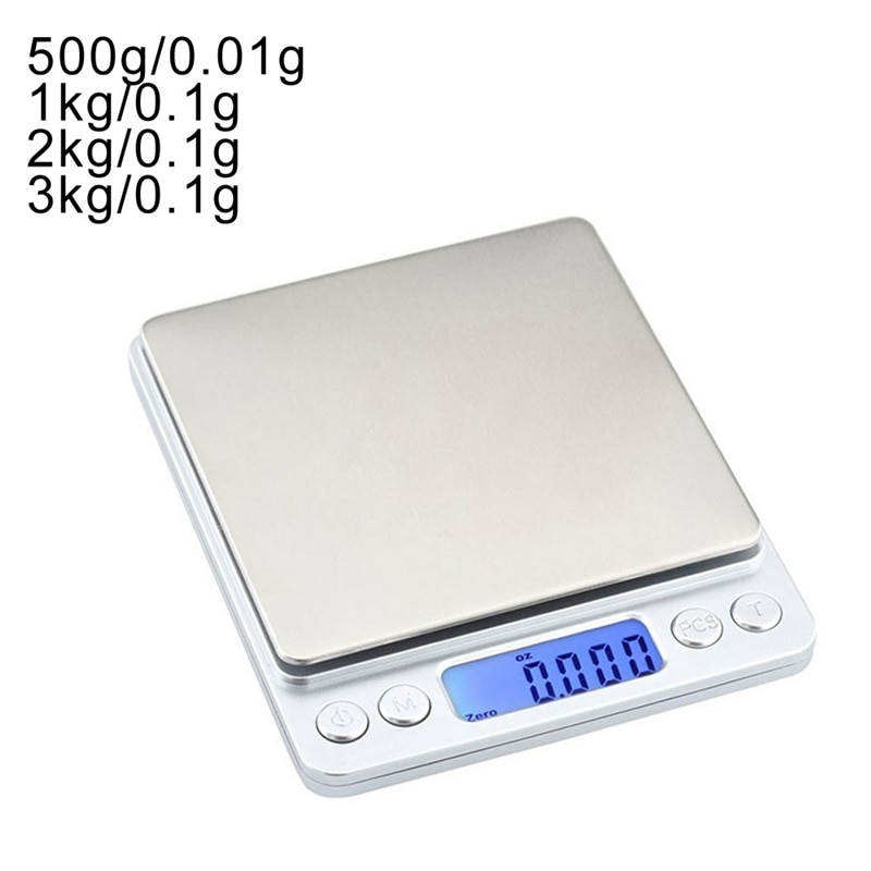LCD Digital Scales 500g/1/2/3kg 0.01/0.1g Mini Electronic Grams Weight Balance Scale for Tea Baking