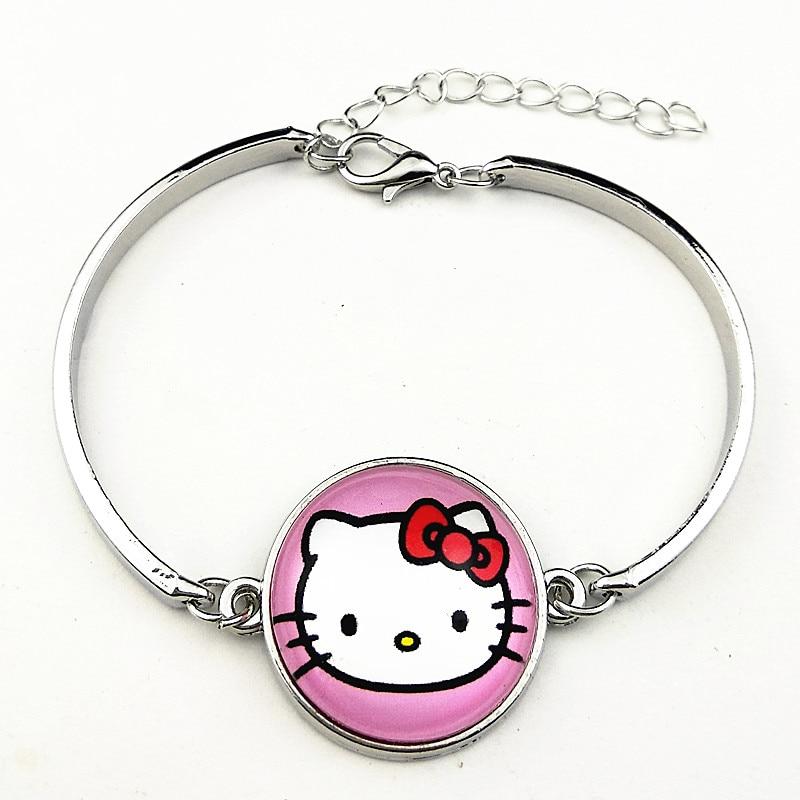 1PC  Jiangzimei New styles cartoon KT cats,Minnie, Mouse, unicorn glass  bangle charm bracelets for girls party gift