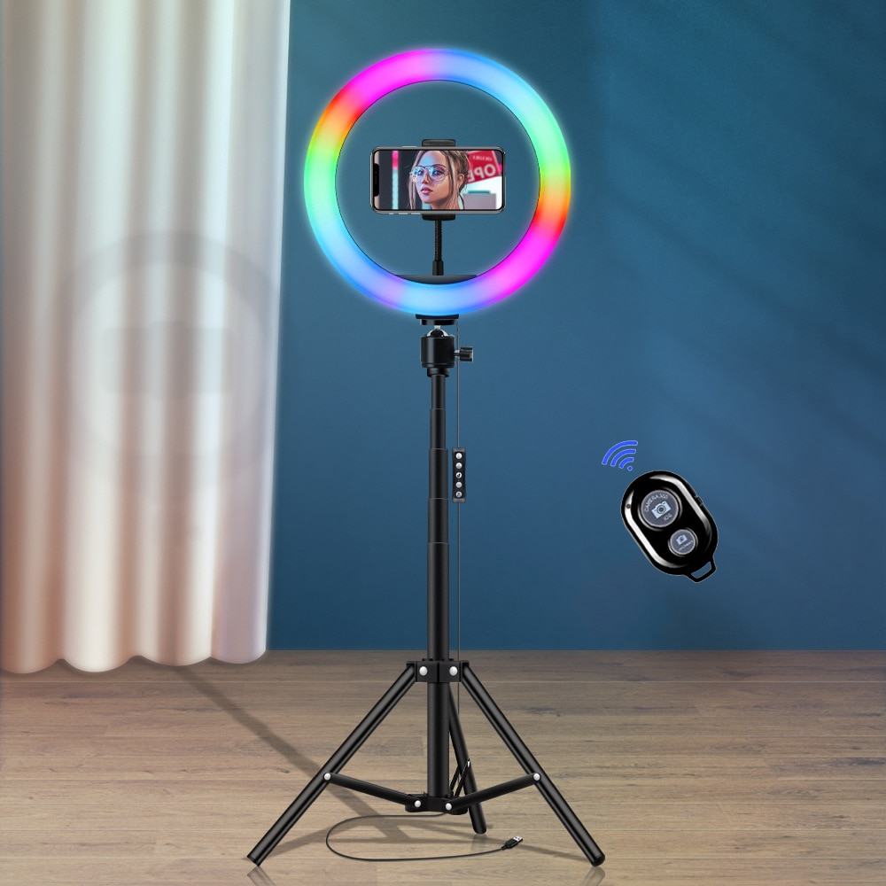 10inch RGB LED Ring Light Phone holder with Stand Flash Rainbow Color Selfie Vlogging YouTube Live S