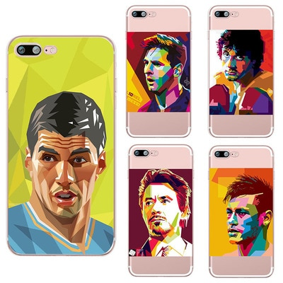 Funda para teléfono con pintura al óleo abstracta messi Suarez Nemar para iphone 11 pro max Football Clear TPU funda coque