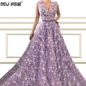 V Neck Elegant Muslim Evening Dresses Robe De Soiree 2019 Islamic Custom Made A Line 3D Flower Prom Party Gown Dress Dubai Aibye
