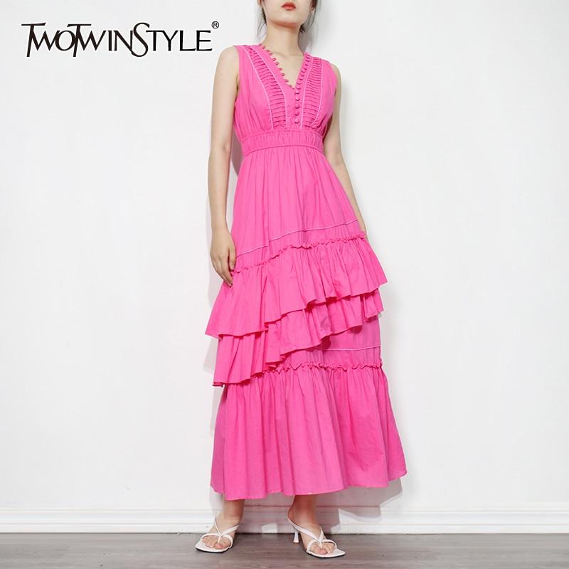 TWOTWINSTYLE الوردي المرقعة فستان مكشكش للنساء الخامس الرقبة أكمام عالية الخصر ميدي فساتين الصلبة الإناث موضة جديدة الملابس
