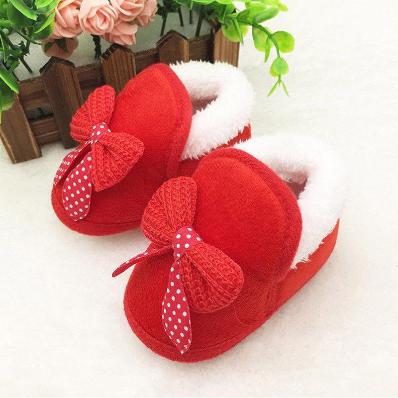 Botas de suela de cuna suave para bebés recién nacidos y bebés, zapatos cálidos para bebés de 0 a 18M de color rosa y rojo