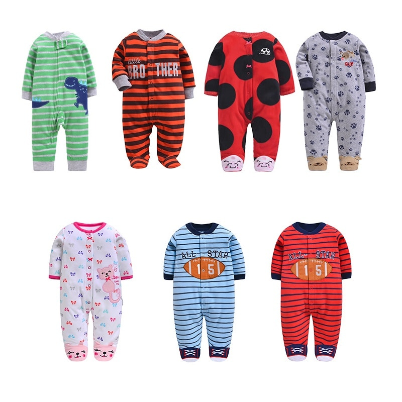 baby rompers kids infant winter newborn flannel jumpsuit pajamas thickken warm boys clothes girls hooded coat pant 2pcs set w142 Baby Rompers Winter Warm Fleece Clothing Set for Boys Cartoon Print Infant Girls Clothes Newborn Overalls Baby Jumpsuit