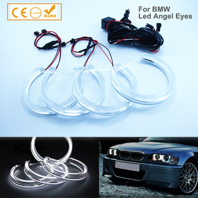2x(131mm+146mm) Dual White Yellow DRL DTM LED Crystal Angel Eyes Halo Ring For BMW E46 E90 E91 Auto Headlight Accessories