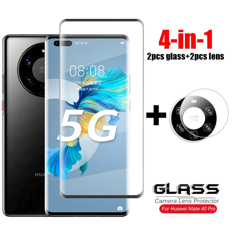 4-in-1-for-glass-huawei-mate-40-pro-tempered-glass-3d-full-curved-cover-glass-mate-40-pro-plus-40e-caerma-lens-screen-protector