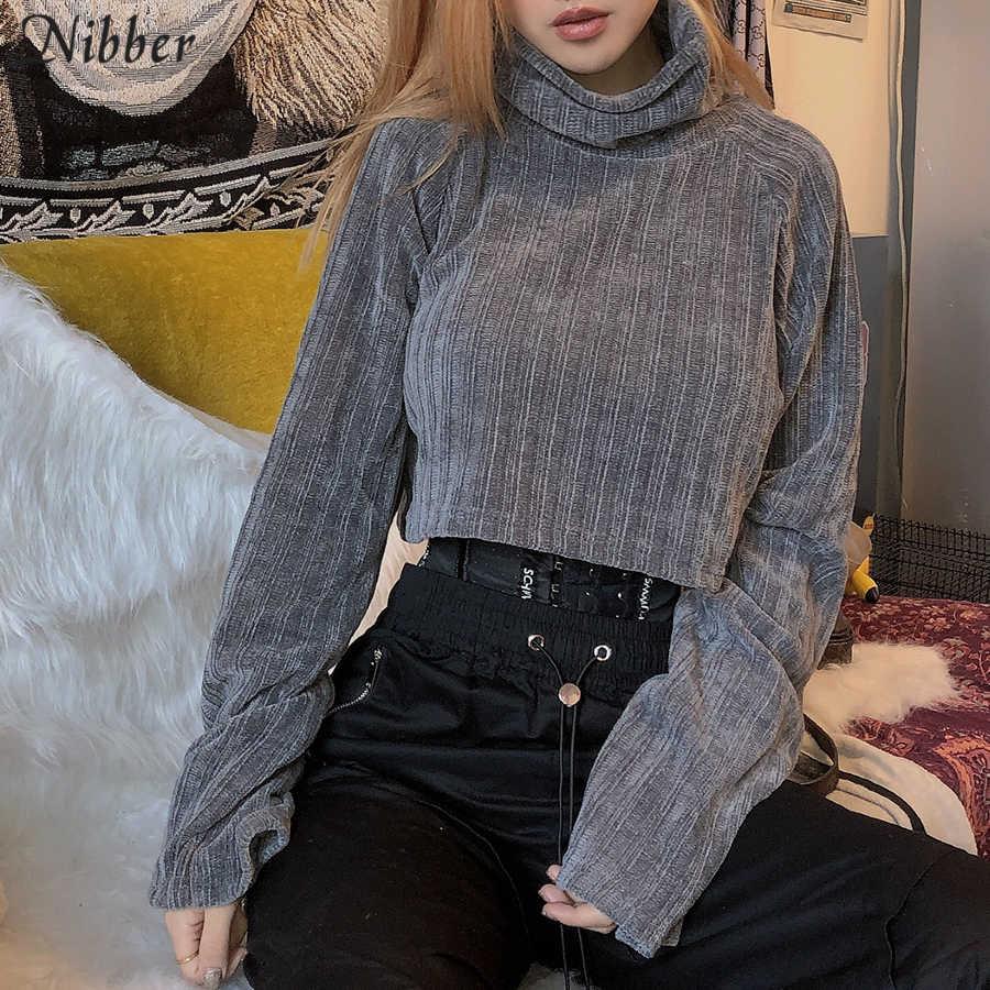Nibber Autumn Pure Harajuku Turtleneck Sweater Womens 2019 Fall Winter Fashion Retro Leisure Crop Tops Mujer Slim Loose Sweater Pullovers Aliexpress