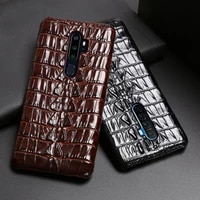 leather phone case for oppo find x2 r15 r17 reno z 2 2z 2f 3 4 pro ace 2 a5 a9 2020 a11x k3 k5 cowhide crocodile tail cover