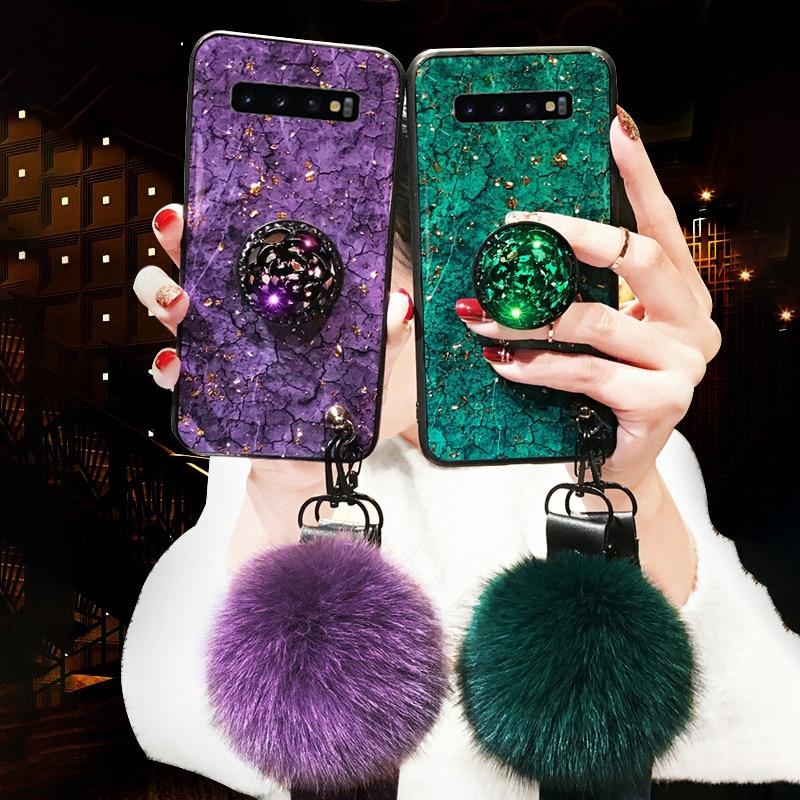 Nueva funda para teléfono con gema de lámina de oro epoxi para Samsung Galaxy S10 Lite S9 S8 Plus Note 9 8 M10 M20 M30 S7 Edge Ring Holder Lanyard Cover