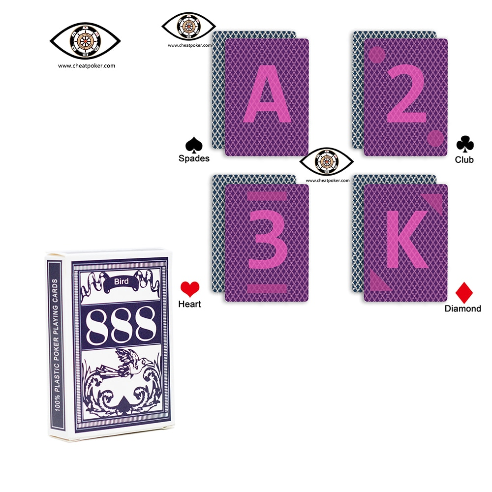 Bird 888 Marked Playing Cards for Contact Lenses Russian Plastic Marked Cards for Infrared Lens Anti Cheat Poker Deck for Tricks недорого