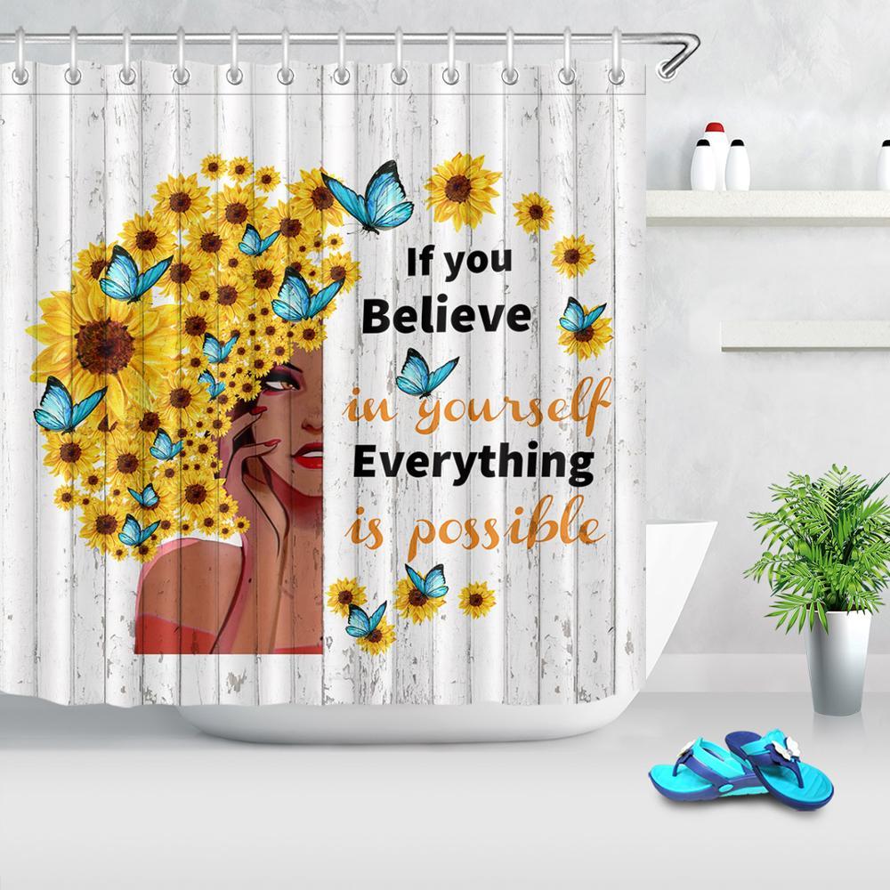 Africano feminino preto menina cortina de chuveiro girassóis borboletas placa de madeira do vintage cortina de chuveiro para banheiro com ganchos