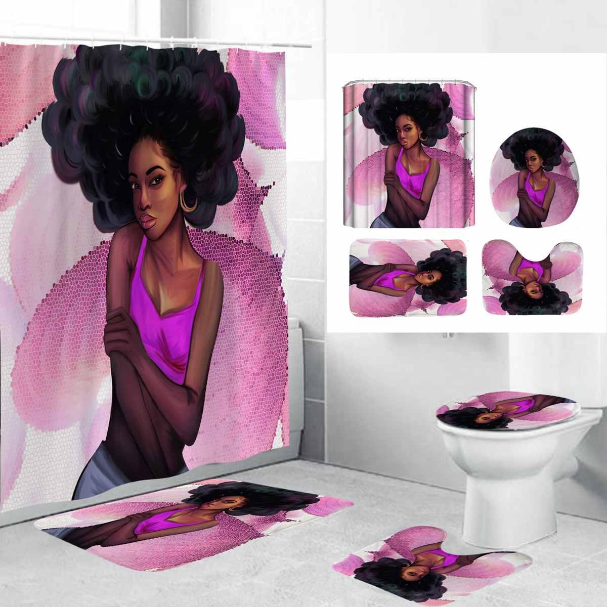 Juego de alfombrillas de baño de 180x180cm, cortina de ducha africana para mujer y niña, cortina de poliéster, alfombrilla de suelo para asiento de inodoro Con Pedestal para Baño