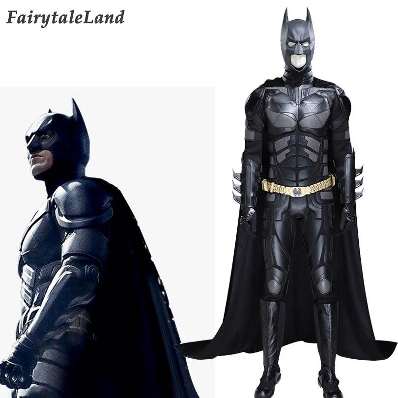 Disfraz de Batman, disfraz del caballero oscuro, Batman Bruce Wayne, traje negro completo con sombrero, capa con cinturón dorado
