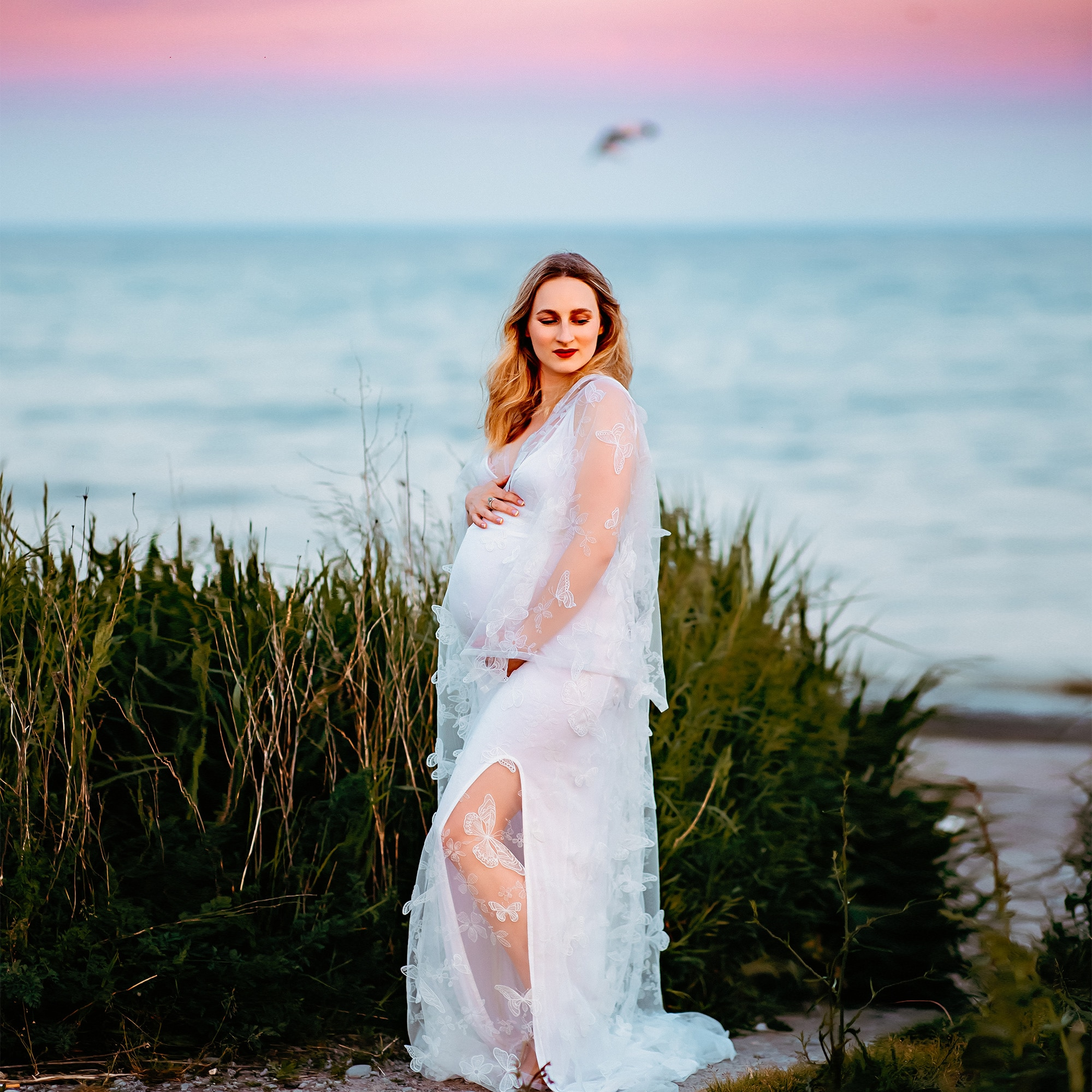 Maternity Dress Photo Shoot Fairy White Embroidery Butterfly Boho Long Pregnant Gown Woman Photography Costume Baby Shower Robe enlarge