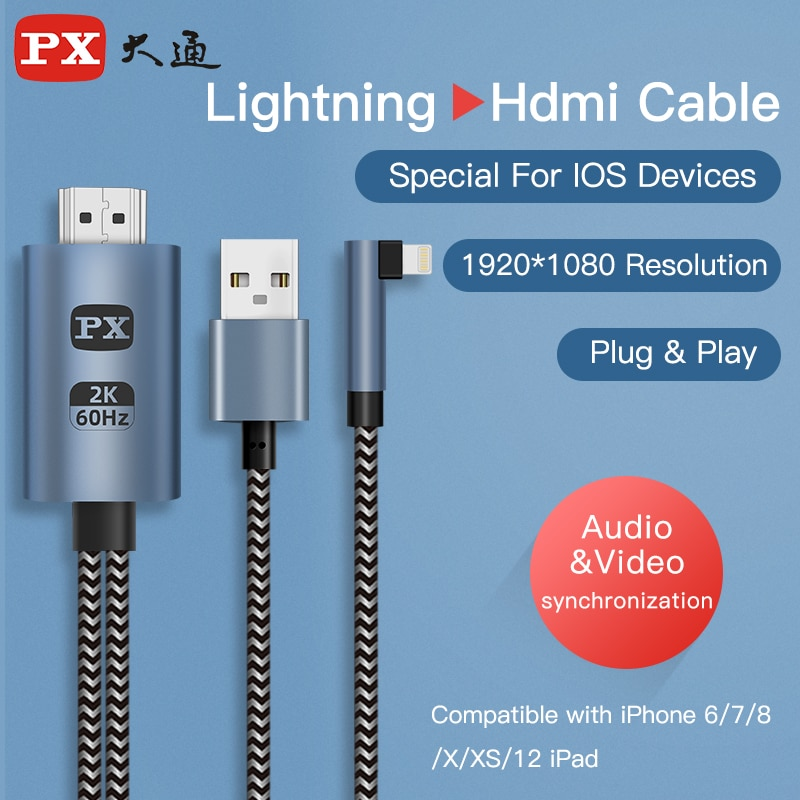 AliExpress - PX 1080P Lightning to Hdmi-Compatible Converter Apple Iphone to TV/Projector Digital Audio Adapter Cable Hdtv Cable for iphone