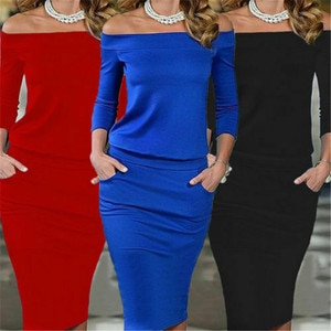 Dress For Women Long Sleeve Slash Neck Short Dress Bodycon Casual Party Mini Club Pencil Vestido Female Solid Color pocket Dress