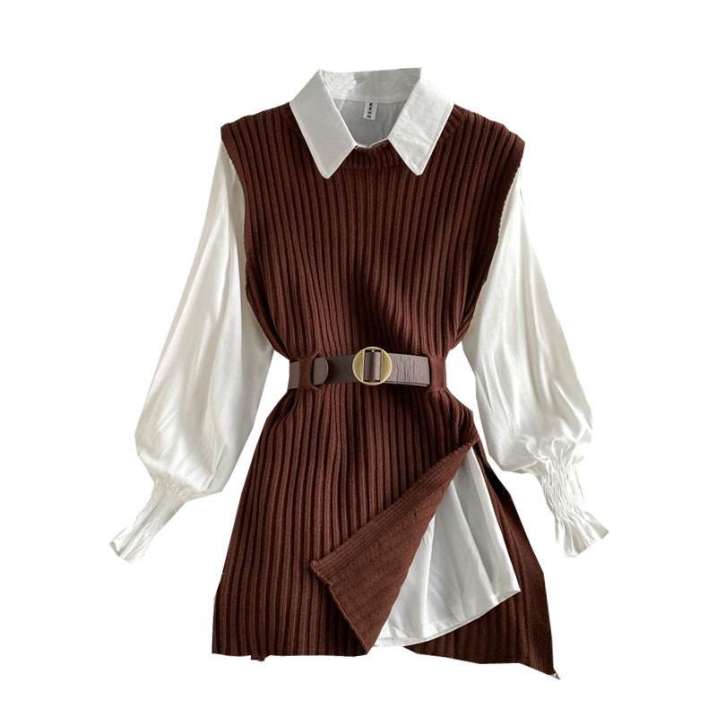 2021 Spring Autumn Women's Lantern Sleeve Shirt Knitted Vest Two Piece Sets of College Style Waistband Vest Two Sets Top enlarge