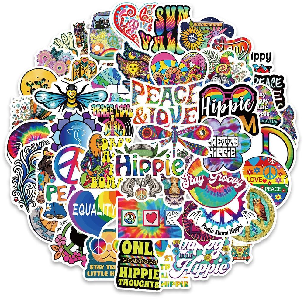 Стикеры в стиле хиппи с мультяшными граффити, Стикеры для скейтборда, гитары, чемодана, морозильной камеры, мотоцикла, классические игрушки,...
