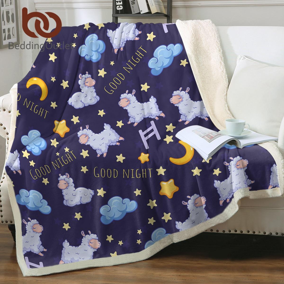 Beddingout الأغنام شيربا رمي بطانية لطيف الحيوان المفرش الكرتون أفخم أريكة بطانية الأرجواني رقيقة لحاف القمر ستار ديكور المنزل