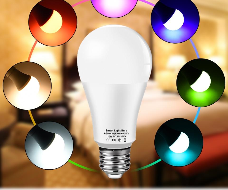 Фото - Умная светодиодная лампочка E27 Tuya с Wi-Fi, умная лампочка E27, 220 В, светодиодная лампочка RGBCW светильник Вт, 15 Вт, 18 Вт, лампочка с Wi-Fi Alexa для дома лампочка