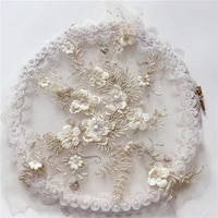 1 pc 8 colors handmade applique artificial string shell pearl wedding dress evening dress ornament lace fabric patch