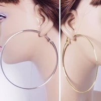 2 sizes 2017 women gold silver color metal big circle smooth large big round hoop earings for women sexy fashion jewelry