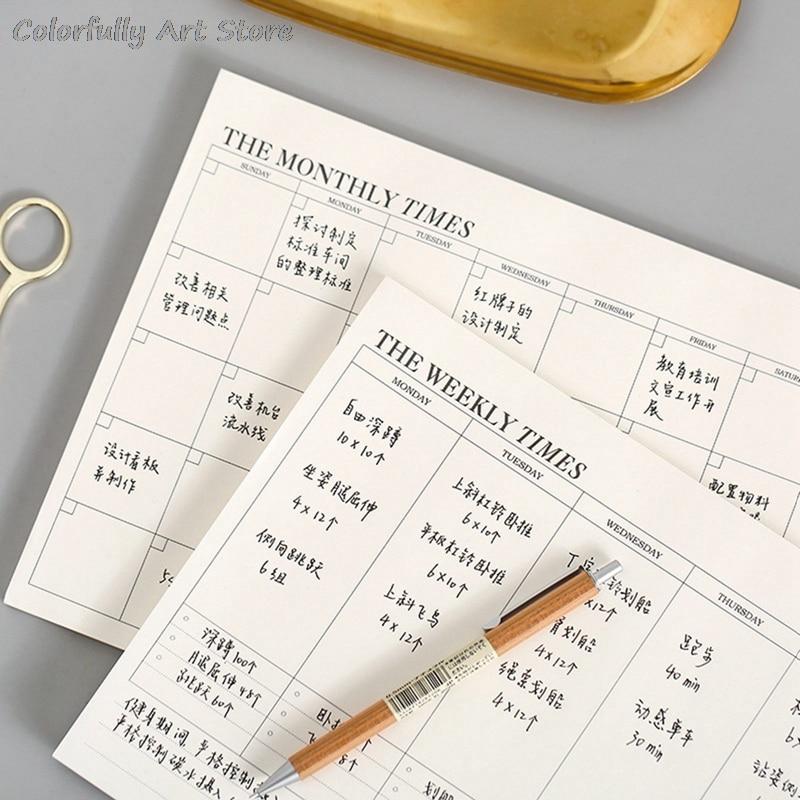 Ежедневный Еженедельный блокнот с расписанием для учащихся канцелярские принадлежности для школы офиса бизнеса товары для строения